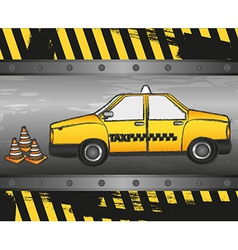 Taxi grunge background with cone signaling vector