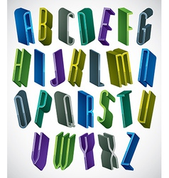 3d colorful letters tall and thin alphabet vector