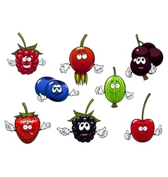 Sweet cartoon isolated berries characters vector