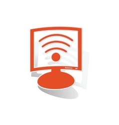 Wi-fi monitor sticker orange vector