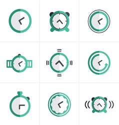 Flat icon time clock icons set design vector