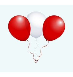 Balloons in white red as peru national flag vector