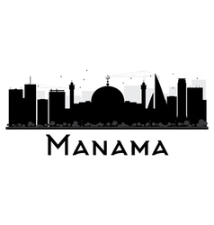 Manama city skyline black and white silhouette vector