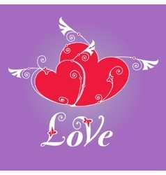 Two heart with wings for design template vector