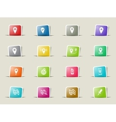 Pointer and maps icons set vector