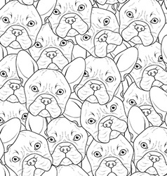 Seamless background with cute bulldog sketch vector