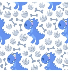 Blue dinosaur rex seamless pattern vector
