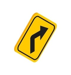Turn right traffic sign icon isometric 3d style vector