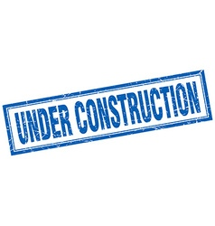 under construction blue square grunge stamp on vector image