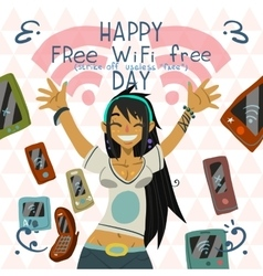 Happy free wi-fi free day funny greeting card vector