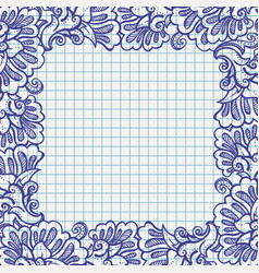 Ball pen floral frame on school paper vector