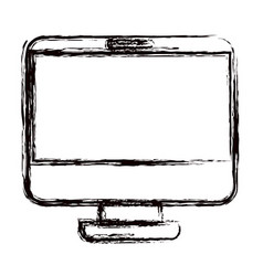 Blurred thick contour modern flat computer screen vector
