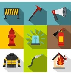 Burning icons set flat style vector