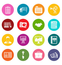 business plan icons many colors set vector image