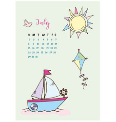 calendar for the month of july 201 vector image vector image