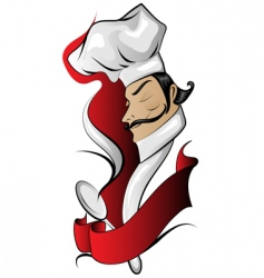 chef logo with banner vector image vector image