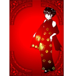 Chinese Girl In Traditional Costume vector image vector image