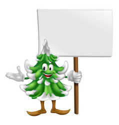 christmas tree mascot with sign vector image vector image