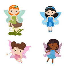 collection of beautiful fairies collection of vector image vector image