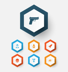 combat icons set collection of order cranium vector image