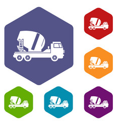 concrete mixer truck icons set vector image