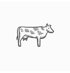 Cow sketch icon vector