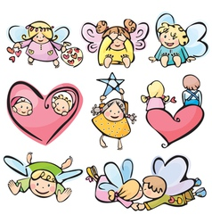 cute angels for your design vector image