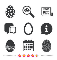 Easter eggs signs circles and floral patterns vector