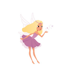 Fairy with long blond hair spreading magical dust vector