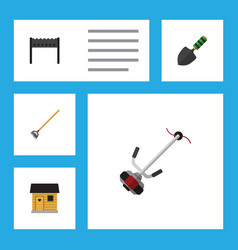 Flat icon farm set of grass-cutter stabling vector