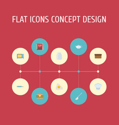 Flat icons glass container cooking notebook vector