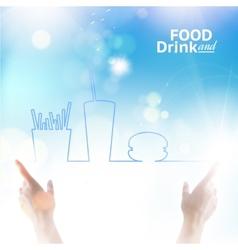 Food between two hands vector image vector image
