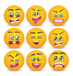 Funny smileys 3d faces isolated set vector