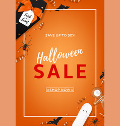 Halloween sale flyer vector