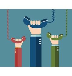 Hand holding telephone urgent call - communication vector