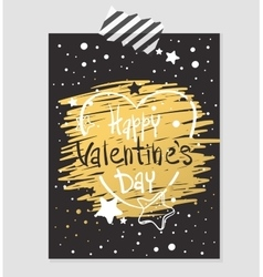 Happy Valentines Day gold and black greeting card vector image vector image