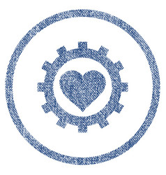 love heart options gear rounded fabric textured vector image