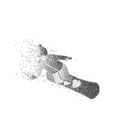 male silhouette of a snowboarder made of particles vector image