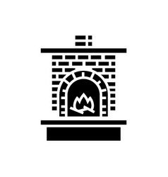 Masonry heater - fireplace with brick chimney with vector