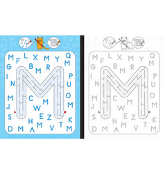 maze letter m vector image vector image