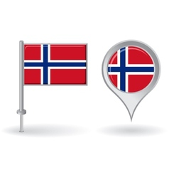 Norwegian pin icon and map pointer flag vector