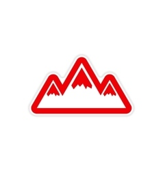 Paper sticker on white background arctic mountains vector
