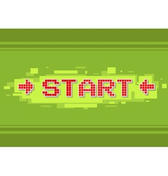 Pixel red text start button on green background vector