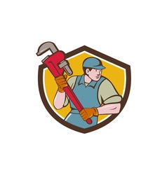 Plumber running monkey wrench crest cartoon vector