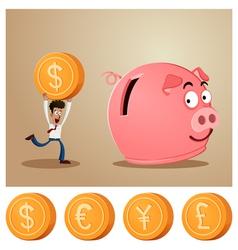 Saving money into piggybank vector