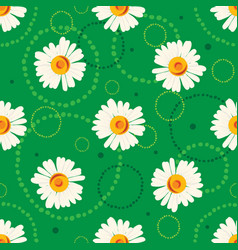 seamless chamomile pattern on green background vector image vector image