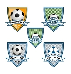 Set football logo for the team and the cup vector image vector image