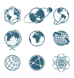 Set of icon earth global communication concept vector