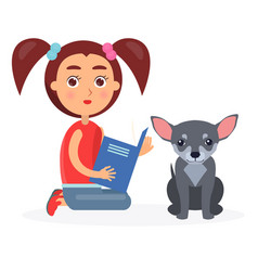 small girl reads blue book to little chihuahua vector image