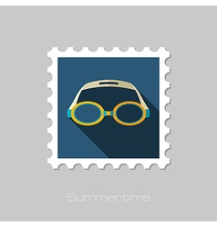 Swimming goggles flat stamp summer vacation vector